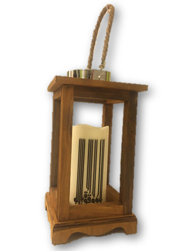 Wooden Lantern with Electric Candle