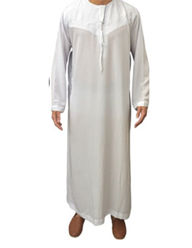 Emirati Collarless Thobe -  Shiny White