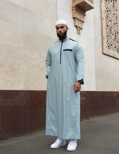 Al-Bai Collared Thobe - Grey with Blue Accents
