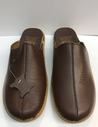 SLIP ON LEATHER MULES - PLAIN BROWN