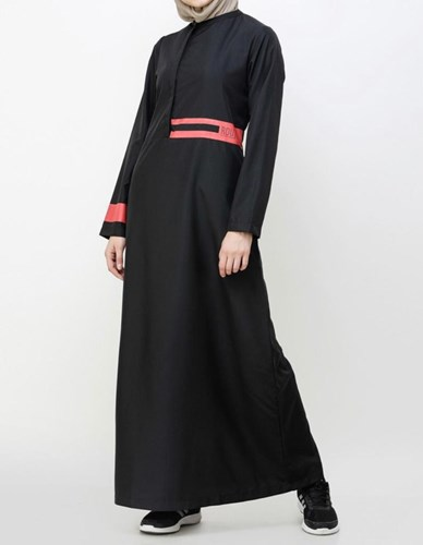 Black Placket Jilbab